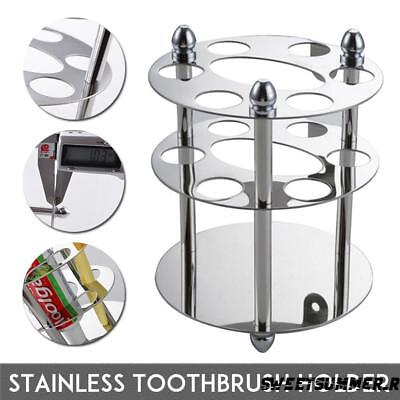 6 Hole Stainless Steel Bathroom Toothpaste Toothbrush Holder Shelf Wall Mount UK