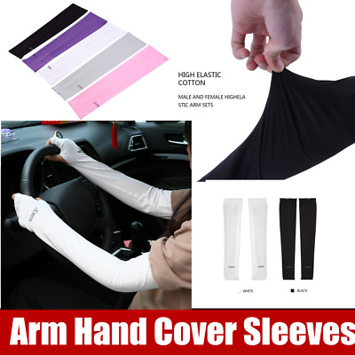Cooling UV Arm Sleeves Sun Protective Cover Half Hand Golf Bike Driving CO
