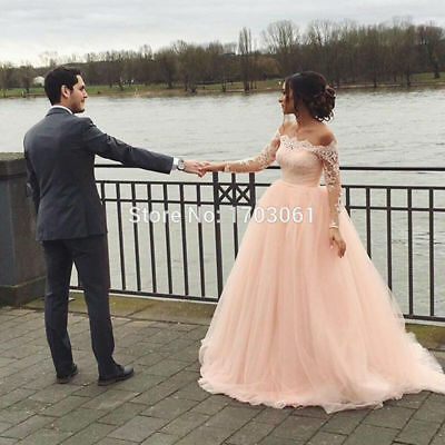 Saudi Arabia Blush Pink Wedding Dress Large Shoulder Long Lace Bridal Gowns Pink