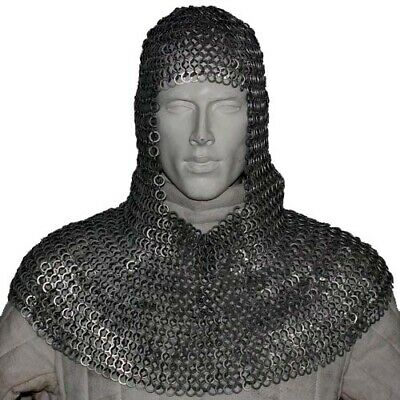 Chain Mail Coif Flat Riveted with Flat Washer Coif 9 mm, Blackend