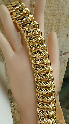 Volumineuse Gourmette  Bracelet Maille Americaine  Or  18 Carats - K /   56  G