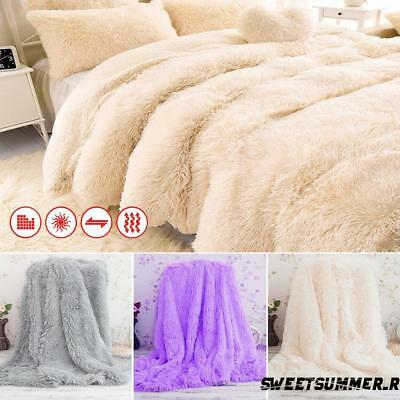 Luxury Long Pile Throw Blanket Super Soft Faux Fur Warm Shaggy Cover 130x160cm