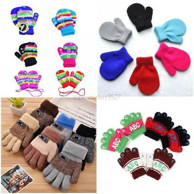 Toddler Baby Kid Girl Boy Xmas Gloves Winter Warm Stretchy Knitted Mittens 2-10Y