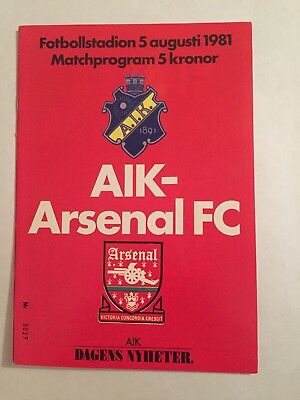 Alk Solna V Arsenal 5/08/1981 Friendly