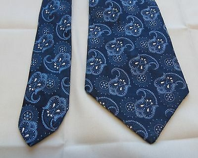 Vtg 1970s Blue Paisley Pattern Polyester Tie By St Michael Made in Britain EA58