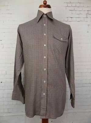 Vintage 1980s Micro Check L-Sleeve Casual Shirt by Kings Road Urban -L- CA70
