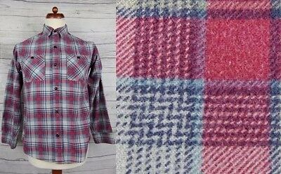 Vtg L-Sleeve 90s Red / Grey Plaid Check Cotton Shirt -S- Short Fit CX12