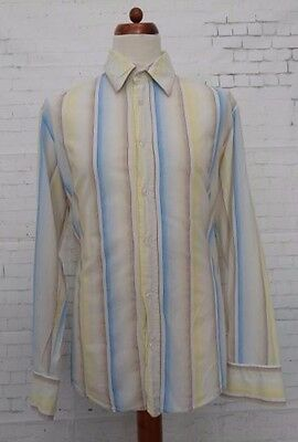 Vtg Long Sleeve Stripe Pattern Cotton Shirt by Hugo Boss -XL- BQ65