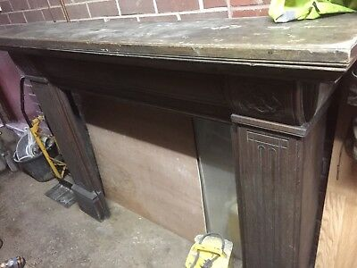 Old Wooden Overmantle Fire Surround