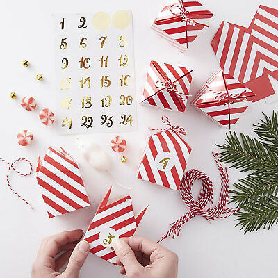 CHRISTMAS ADVENT CALENDAR BOXES - Red & White Striped Boxes Stickers / Twine Kit
