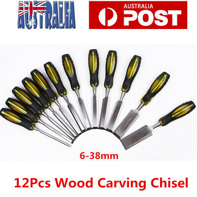12pcs Wood Chisel Alloy Steel Through The Handle Woodworking Chisel Set 6mm-38mm