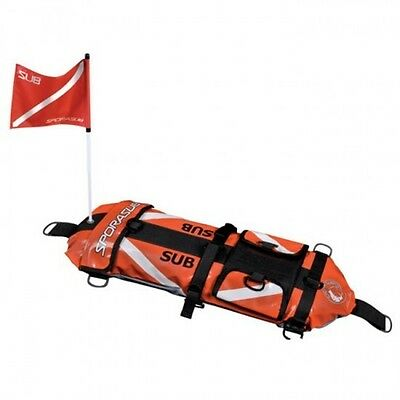 Sporasub Patriot Scuba Spearfishing Float w/Dive Flag & 8 Meter Bungee Line 02UK
