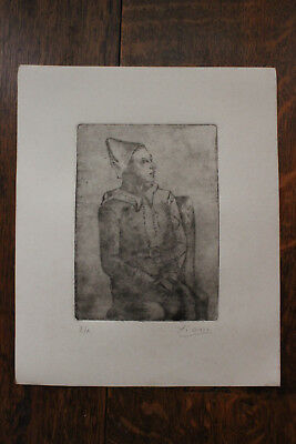 PABLO PICASSO  old etching signed by hand in pencil , italarte