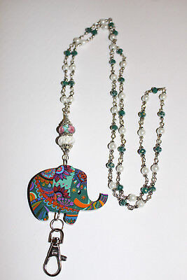 Colorful Elephant on a Teal and Cream Pearl Beaded Lanyard / ID Badge Holder