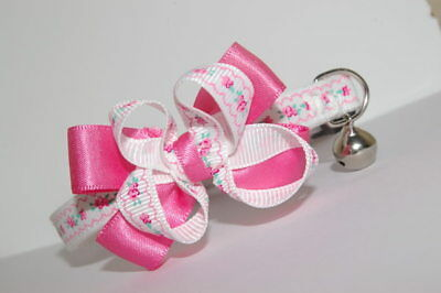 Rose Pink ,white Flowers  Bow  Adjustable Quick Release Cat Collar