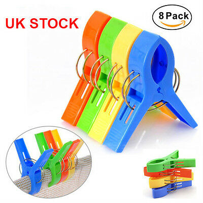 8x Beach Towel Pegs Large Clips For Sunbeds Bright Colours Heavy Laundry Clothes