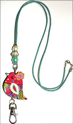 Cute Paisley Colored Bird With Murano and Pearl Beaded Lanyard / ID Badge Holder
