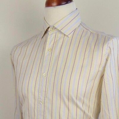 Vintage Long Sleeve Striped Italian Cut Away Collar Shirt -M- BP86