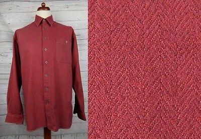Vtg 90s L-Sleeve Over Dye Urban Ox Blood Cotton Indie Shirt Hipster -L- CY62