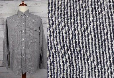 Vtg L-Sleeve Button Down Static Monochrome Shirt Hipster -XL- CY67