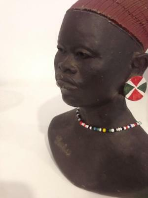 Vintage African Clay Bust Sculpture. Zulu.1970's Signed J-Ncanana
