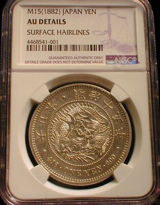 M15 1882 Japan Silver One Yen NGC AU Details Surface Hairlines
