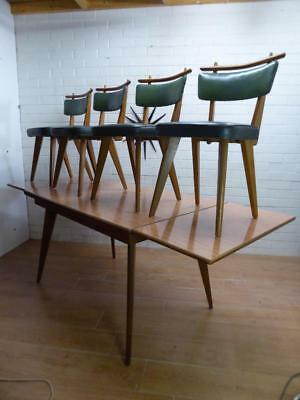 RETRO MID-CENTURY MODERN TEAK EXTENSION TABLE DINING TABLE CHAIRS 5-pce Sz