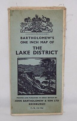 Bartholomew's One Inch Cloth Map of the Lake District - 1947