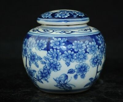 chinese old Porcelain carving  Blue&White Flowers Butterfly Painted Pot Jar