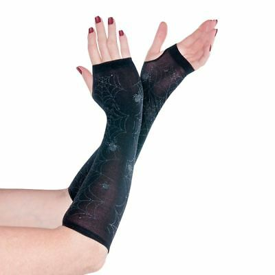 Adult Ladies Glitter Spider Web Sheer Arm Warmer Gloves Halloween Accessory