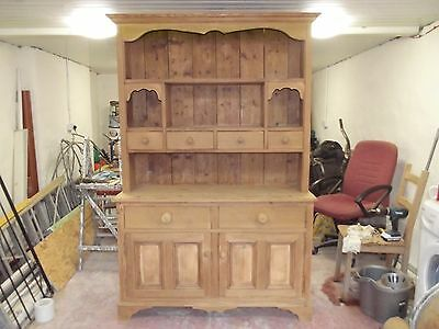 STUNNING 1930's/40'S SOLID PINE WELSH DRESSER, SANDED BACK READY TO FINISH.