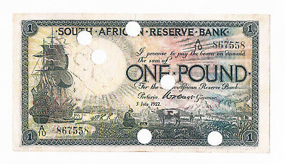 3 July 1922 South Africa One Pound Een Pond Pick#75 , Cancelled Banknote