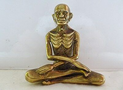 A Wonderful Antique Brass Detailed Emaciated Buddha. Very Rare. Lotus Position.