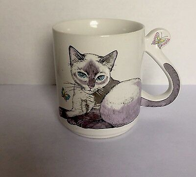 Vintage Ceramic Purple Cat Coffee Tea Mug With Tail Handle