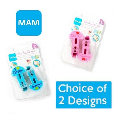 MAM I Love Mummy & I Love Daddy Soother Clip Pack BOYS/GIRLS (A34)