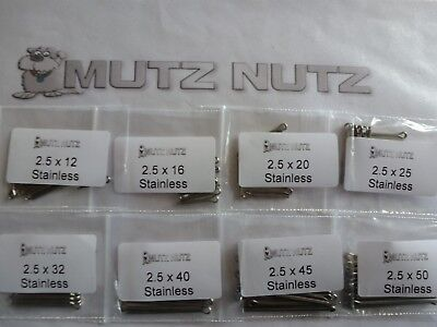 2.5mm Split pins/Cotter pins Mixed bag of 100 Stainless Steel grade A2 (Pack 11)