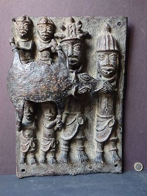 Rare Benin Bronze Plaque Tribal Nigeria Oba King & Followers Large African Art