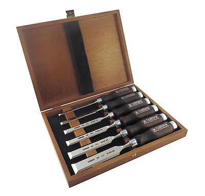 6pc Set Woodworking Chisels Tool in Wooden Presentation Box Perfect For Gift