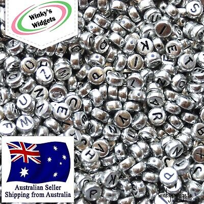 FAST SHIPPING 30g (250 pcs) Alphabet Letter beads BLACK ON SILVER - EXTRA VOWELS