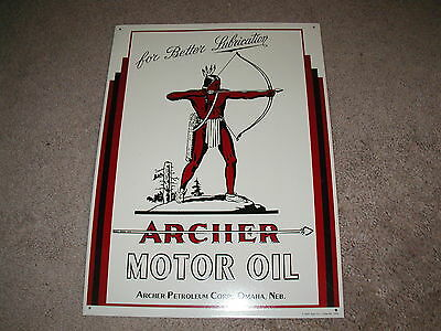 Unused Archer Motor Oil embossed tin sign with Indian graphics