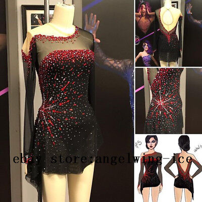 Ice Skating Dresses Black Girls Custom Figure Skating Wear Women Competition V7