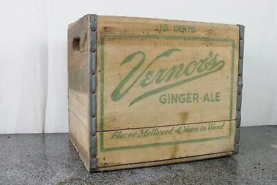 Vintage Vernor's Ginger Ale 10 Cents Wooden Wood Soda Crate Advertising Display