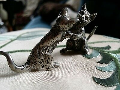 Vintage Pewter Fighting Cats Figure