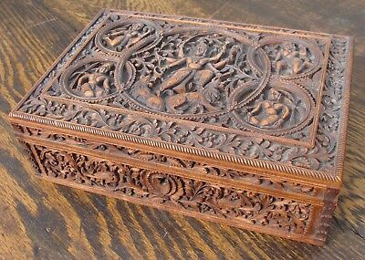 Good Quality Antique Anglo Indian Sandalwood Box 19th Cent Mysore Southern India