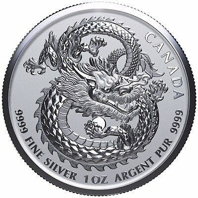 2017 $5 1 oz. 99.99% Fine Silver Lucky Dragon (High Relief) - Limited Mintage