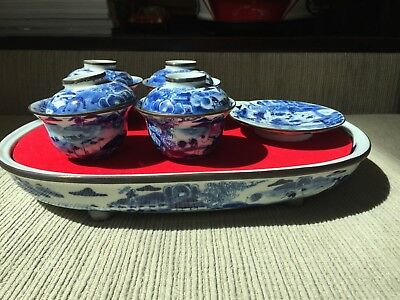 Chinese teaset Porcelain.Hand painted...with tray Low reserved..