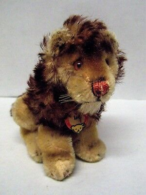 "Vintage STEIFF Seated Mohair LEO THE LION - 4-1/2"" Tall w/ Paper Tag"