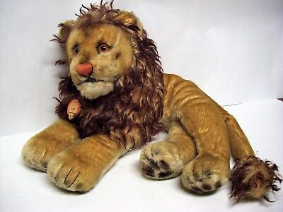 "Vintage STEIFF Reclining Mohair LEO THE LION -  Large 24"" Long w/ Paper Tag"