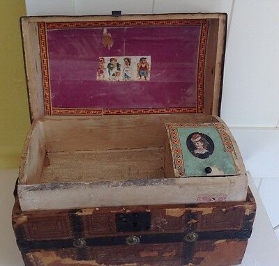 Antique-dome top steamer trunk glove box,salesman's sample antique, victorian