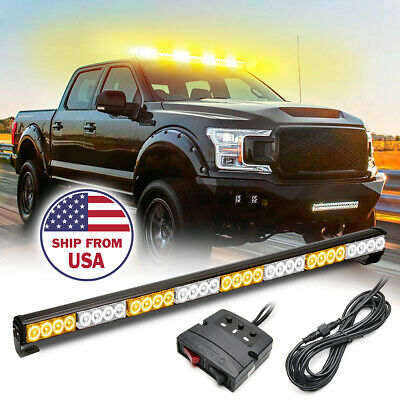"36"" 13 Modes Traffic Advisor Emergency Warning Strobe Light Bar Kit (White&Red)"